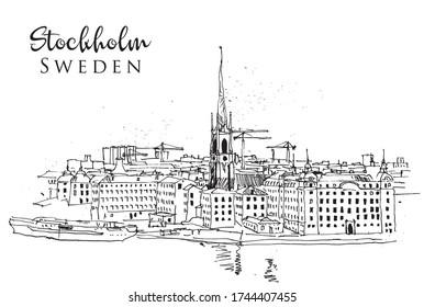 Drawing sketch illustration of Stockholm cityline, Sweden
