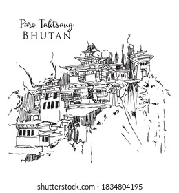 Drawing sketch illustration of  Tiger's Nest Temple in Bhutan