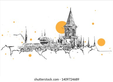 Drawing sketch illustration of Topkapi Palace, the imperial palace of the Ottoman Empire in Istanbul