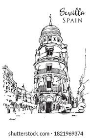 Drawing sketch illustration of Torre Filella or Edificio la Adriatica in Sevilla, Spain