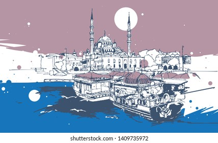 Drawing sketch illustration of Yeni Cami or New Mosque and the traditional gondolas in Eminonu, Istanbul, Turkey
