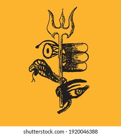 Drawing or Sketch of Indian famous and powerful god Lord Shiva and his symbols outline, silhouette editable illustration