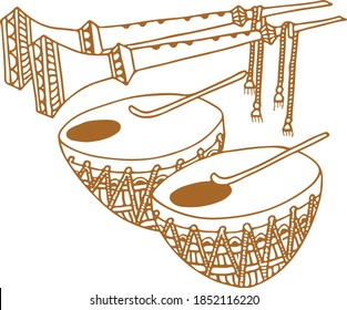 Drawing or Sketch of Indian Traditional Wedding Baja Music Set or Music Instruments Editable Outline Illustration