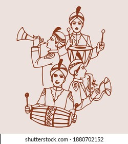 Drawing or Sketch of Indian Traditional Wedding Baja Music Set or Music Instruments with Musicians Editable Outline Illustration