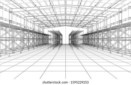 Drawing or sketch of a large warehouse with shelves. Vector obtained from 3D rendering