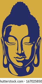 Drawing or Sketch of Lord Buddha Closed Eyes with Peace Mind Gold Color Outline Vector Illustration