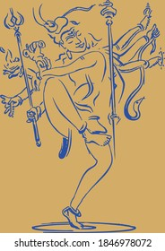 Drawing or Sketch of Lord Shiva or Rudra Dancing with holding multiple weapons in a hand editable outline illustration