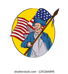 Drawing sketch style illustration of an American patriot revolutionary soldier or minuteman militia, holding a USA stars and stripes flag set inside oval on isolated white background.