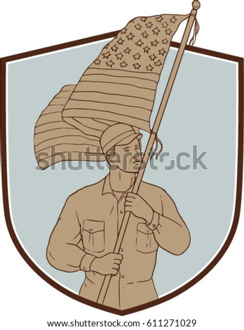 Drawing Sketch Style Illustration American Soldier Stock Vector
