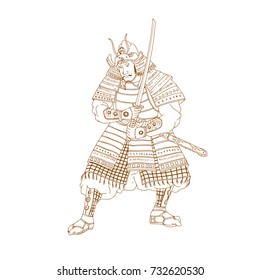 Drawing sketch style illustration of a Bushi, buke or Samurai Warrior in fighting stance with katana sword on isolated background.