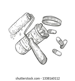 Drawing sketch style illustration of a concept of paint doctor showing a crossed paint roller and medicine or pill capsule container bottle on isolated white background in black and white.