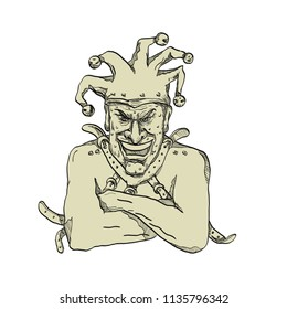 Drawing sketch style illustration of a crazy, lunatic or insane harlequin, professional joker, fool or court jester wearing a straitjacket or strait jacket while laughing viewed from front  isolated.
