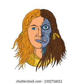 Drawing sketch style illustration of face of Hel, a goddess in Norse mythology, with face half skeleton and half flesh with  gloomy, downcast appearance on isolated white background in color.
