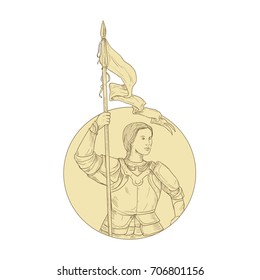 Drawing sketch style illustration of Female Knight Joan of Arc Holding Flag set inside Circle on isolated background.