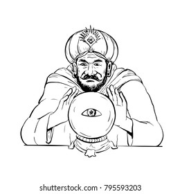 Drawing sketch style illustration of a fortune teller, medium, psychic, mystic,seer, soothsayer, clairvoyant scrying on a crystal ball with eye on white background.