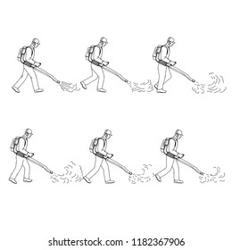 Drawing sketch style illustration of a  a gardener or groundsman with leaf blower or blower vac walking cycle sequence viewed from  side on isolated background.