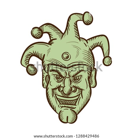 262d529de9 Drawing sketch style illustration of head of a demented medieval court  jester, harlequin or fool
