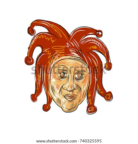 c93e7acea9 Drawing sketch style illustration of head of a medieval court jester,  professional joker, fool