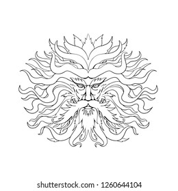 Drawing sketch style illustration of Helios, the god and personification of the Sun in Greek mythology, with hair like fiery rays of the sun on isolated background in black and white.