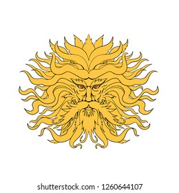Drawing sketch style illustration of Helios, the god and personification of the Sun in Greek mythology or Sol in Roman myth, with hair like fiery rays of the sun on isolated background in color.