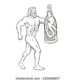 Drawing sketch style illustration of Hercules, a Roman hero and god holding a bottled up angry octopus on isolated white background in black and white.