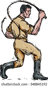 Drawing sketch style illustration of a lion tamer holding bullwhip viewed from the side set on isolated white background.