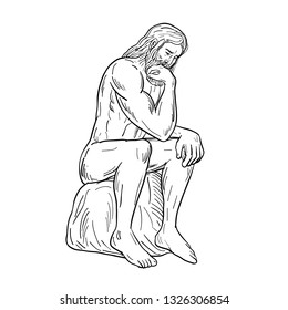 Drawing sketch style illustration of a man or thinker with full beard sitting down thinking on isolated white background done in black and white.