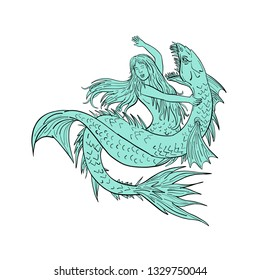 Drawing sketch style illustration of a a mermaid or siren grappling a sea serpent or monster on isolated white background.