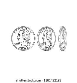 Drawing sketch style illustration showing the obverse or head of an American half dollar or United States coin spinning or flipping on it's head on isolated background.