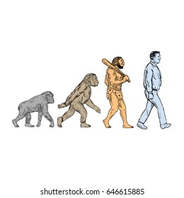 Drawing sketch style illustration showing human evolution from primate ape, homo habilis, homo erectus to modern day human homo sapien walking viewed from the side set on isolated white background.