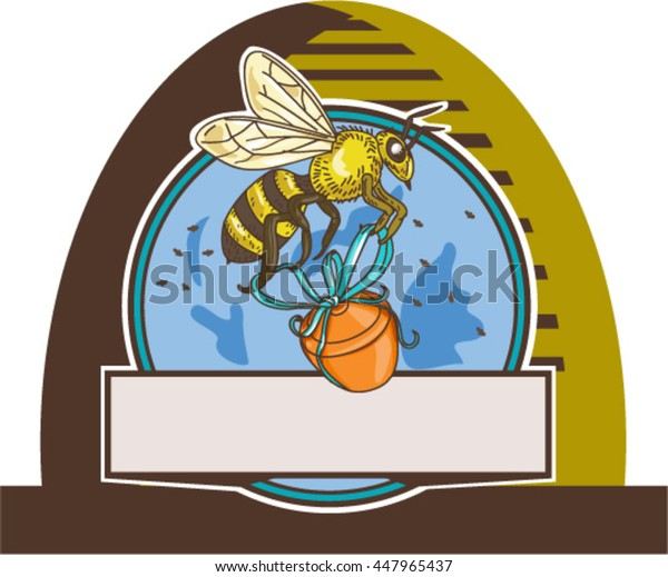 Drawing sketch style illustration of a worker honey bee carrying a honey pot with ribbon viewed from the side set inside circle in a skep.