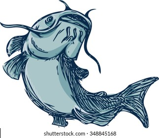 Drawing sketch styleillustration of a ray-finned fish catfish also known as mud cat, polliwogs or chucklehead jumping up set on isolated white background.