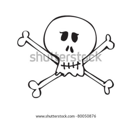 Drawing Skull Crossbones Stock Vector Royalty Free 80050876
