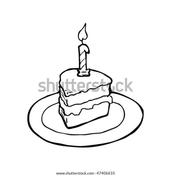 Surprising Drawing Slice Birthday Cake Stock Vector Royalty Free 47406610 Funny Birthday Cards Online Fluifree Goldxyz