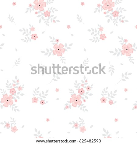 Drawing Small Pink Flower Gray Leaves Image Vectorielle De Stock