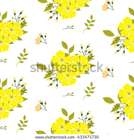Drawing Small Yellow Flower Green Leaves Stock Vector Royalty Free