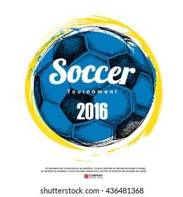 Drawing of soccer background ,Poster ,Brochure .illustration eps10