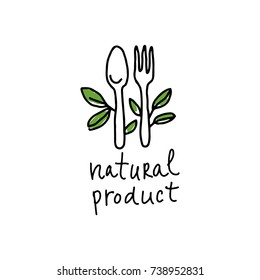Drawing spoons and forks with green leaves and the inscription: natural product.