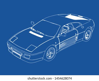drawing of a sports car on a blue background