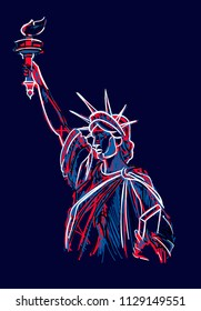 Drawing of the statue of liberty with lines of different colors.Vector illustration Statue of liberty on a blue background, vector illustration.