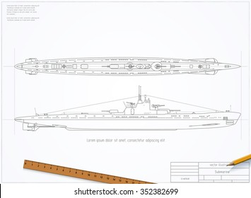 Drawing of a submarine. Vector eps 10