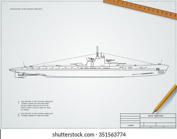 Drawing submarine. World War II. Vector eps 10
