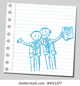 Drawing of a successful businessmen
