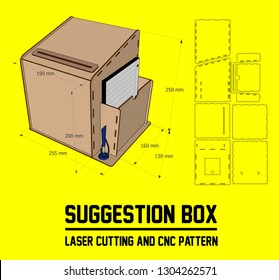 The drawing of the Suggestion box is designed and tested for laser cutting. The box is assembled without glue. Material thickness: 3 mm.