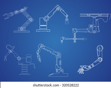 Robot blueprint images stock photos vectors shutterstock drawing symbol robot arm on blue background vector eps 10 malvernweather Images