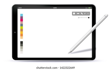 Drawing with Tablet PC and Pen Vector Illustration