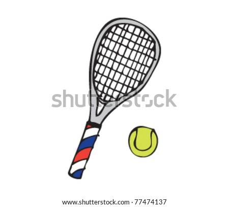 Drawing Tennis Racket Stock Vector Royalty Free 77474137