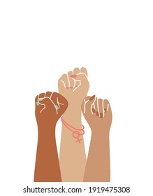 Drawing of three fists. Women's hands as symbol of power and protest. Flat vector illustration.