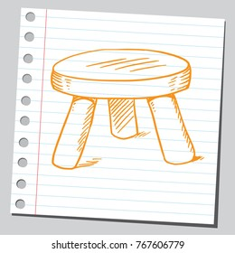 Drawing of a three legged stool