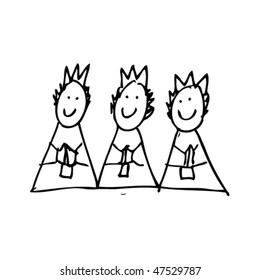drawing of three wise men